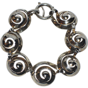 REDUCED Napier 1940's Sterling Silver Swirl Bracelet, Book Piece