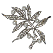 REDUCED Trifari Sterling 1940's Rhinestone & Faux Pearl Floral Brooch