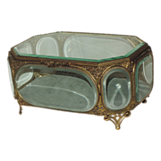 """SALE Large Antique 19th Century French Jewelry Casket ~ 9.5"""" X 6.5"""""""