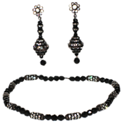 REDUCED Accessocraft N.Y.C. 1960's Japanned Rhinestone & Jet Bead Necklace & Earring Set