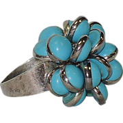 REDUCED Turquoise Glass & Sterling Silver Fringe Ring, Vintage 1970's ~ 7.75-8.25 US