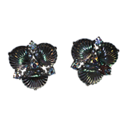 REDUCED RARE Jomaz 1950's Pressed Glass Shell Earrings