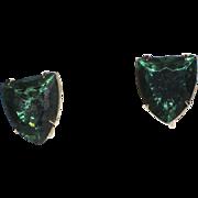 Accessocraft N.Y.C. 1960's Green Glass Shield Earrings