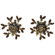 SALE RARE Vendome 1950's Hematite Rhinestone Floral Motif 3D Earrings