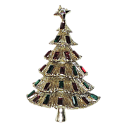 REDUCED Kramer of New York 3D Tiered Christmas Tree Pin ~ Book Piece