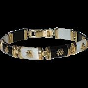 Oriental Chinese Character Mother of Pearl & Onyx Sterling Vermeil Tennis Bracelet