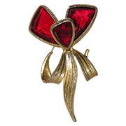 SALE Accessocraft N.Y.C. 1960's Red Glass Butterfly Wing Flower Brooch
