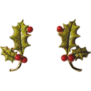 SALE Accessocraft N.Y.C. 1960's Holly Berry 3D Leaves Christmas Earrings