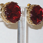 SALE Accessocraft N.Y.C. Large Ruby Red Faceted Glass Earrings