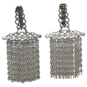 REDUCED RARE Napier 1950's Medieval Gothic Revival Silver Plate Chain Drop Earrings