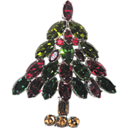SALE Napier Classic Navette Rhinestone Christmas Tree Pin ~ Book Piece