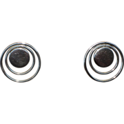 REDUCED Modernist Vintage 1970s Sterling Concentric Circle Pierced Earrings