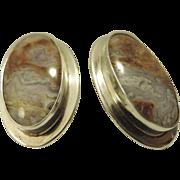 REDUCED Mid Century Modern Geode Rock Sterling Silver Modernist Oval Pierced Earrings