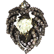 SALE RARE Castlecliff 1950's Green Glass, Rhinestone Heart Brooch