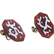 REDUCED Mid Century Modern Sterling Enamel Octagon Earrings