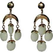 Trifari 1970's Waterfall Chandelier Earrings, RARE Book Piece