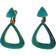 SALE Vendome 1960's Mod Teal Green Enamel Triangle Drop Earrings