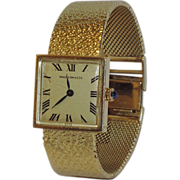 REDUCED Hardy & Hayes Swiss Movement Italy 14K Gold Band Sapphire Ladies 1940's Wristwatch