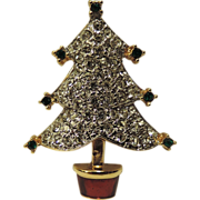REDUCED Carolee Pave Rhinestone Christmas Tree Pin ~ RARE Book Piece
