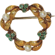 REDUCED Italy 18K Gold, Emerald & White Pearl Circle Pin, Provenance