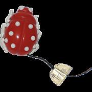 REDUCED Trifari 1960's Red Lucite Enamel Beetle Brooch ~ Original Tag