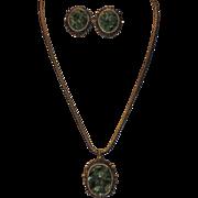 SALE Late 1960's Genuine Jade Pendant Necklace & Earring Set