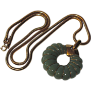 "SALE Trifari 1970's Jade Green Lucite Pendant Necklace ~ Snake Chain 24"""