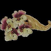 REDUCED 1950's Pansy Flower Cornucopia Brooch ~ Enamel & Rhinestones