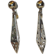 REDUCED Mexican Sterling Taxco Pierced 3D 1940's Screwback Small Earrings