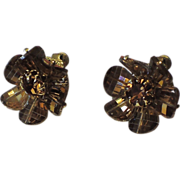 REDUCED Vendome Mink Pagoda Crystal Earrings ~ Vintage 1970's