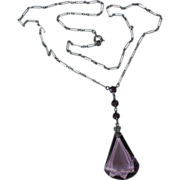 REDUCED Art Deco Purple Glass Pendant Necklace