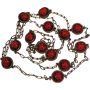 REDUCED Accessocraft N.Y.C. 1960's Red Glass Sautoir Necklace 52""