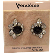 REDUCED Vendome late 1960's Jet Glass & Rhinestone Earrings ~ Mint on Original Card