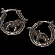 SALE Elephant 3D Sterling Silver Hoop Earrings