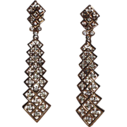 SALE Trifari 1970's Zig-Zag Rhinestone Tie Drop Earrings