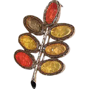 REDUCED 1960's Mod Autumn Fall Leaf Brooch