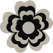 REDUCED Corocraft 1960's 3D Stacked Black & White Flower Brooch