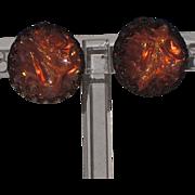 Austria Signed Orange Carnival Glass 3D Molded Lucite Earrings ~ Halloween!