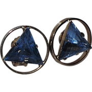 REDUCED 1960's Blue Triangle Gold Tone Circle Earrings