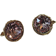 Vendome 1960's Pink Rhinestone Bird's Nest Earrings