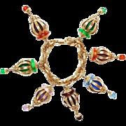 SALE SCARCE Napier Chinese Lantern Charm Bracelet, Book Piece