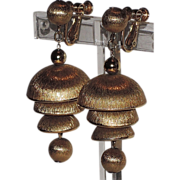 REDUCED Napier 1953 Anne Fogarty Chime Bells Earrings ~ Book Piece