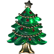REDUCED Anne Klein Molded Lucite Garland 3D Christmas Tree Pin ~ Book Piece