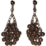 REDUCED Napier 1960's Gold Ball Bead Chandelier Earrings