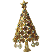 SALE Mylu Dangling Crystals Christmas Tree Pin ~ Book Piece