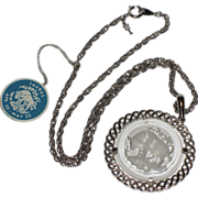 SALE Trifari Taurus Zodiac 1960's Intaglio Pendant ~ Mint, Original Tag