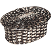 SALE Taxco Sterling Woven Basket Trinket, Pill, Jewelry Box
