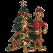 SALE 1950's Elf with Christmas Tree Pin ~ Rhinestones & Enamel