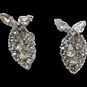 SALE Kramer of New York 1950's Clear Rhinestone Tear Drop Earrings
