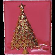 SALE RARE Mylu Diamond Lattice 3D Christmas Tree Pin ~ Mint on Original Card, Book Piece